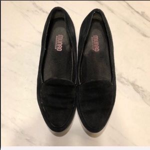 MUNRO Black Suede Leather Slip On Flats/Loafers 7